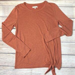Madewell Side Tie Orange Long Sleeve Top